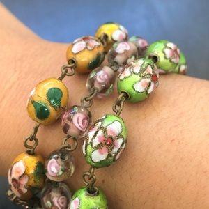 Vintage Cloisonné Murano Glass Beads Bracelet
